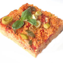 Millet pie with tomatoes and basil ORGANIC