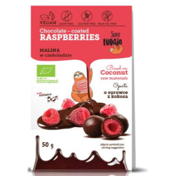 Organic freeze-dried chocolate coated raspberries 50 g