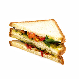 Roasted pepper and basil pesto sandwich